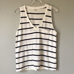 Madewell   Black & White Striped Tank with Pocket